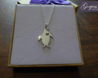 Silver Penguin Pendant - Handmade Penguin Necklace - Penguin with Heart Charm