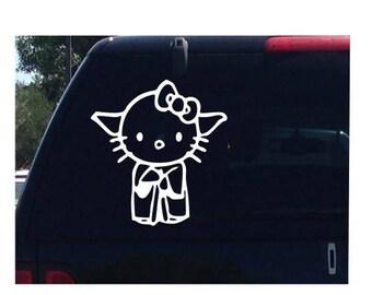 Yoda Hello Kitty Star Wars Car Decal