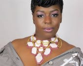 Pink Bib Necklace - Statement Necklace - Pink Opal Necklace - Leather Necklace