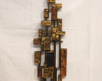 Brutalist Candle Sconce Syroco Burnished Brass & Copper Color