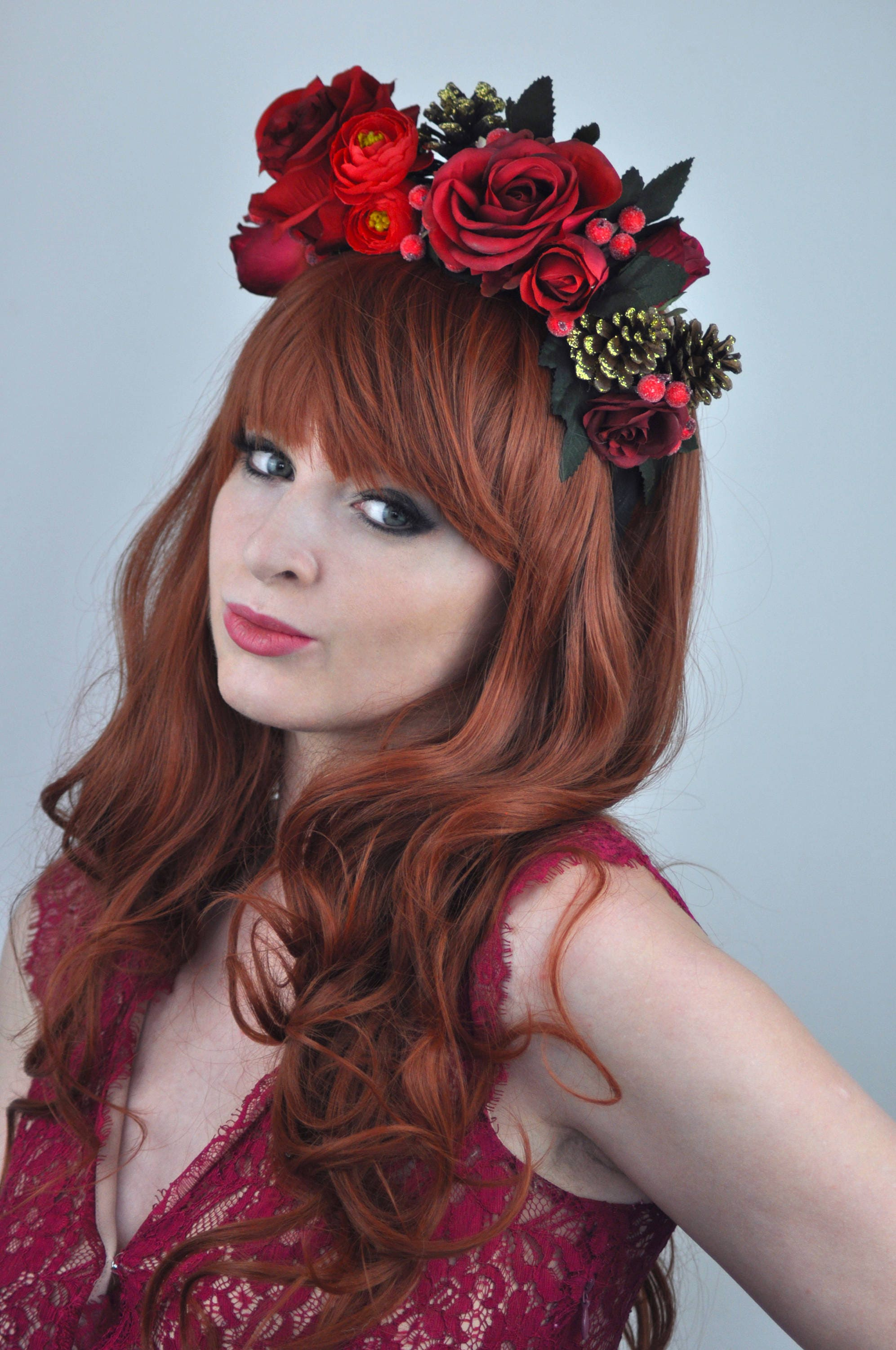 Red flower crown headpiece fall headpiece winter flower crown red flower crown headpiece fall headpiece winter flower crown christmas flower crown izmirmasajfo Images