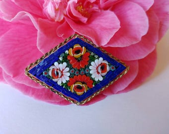 Pretty Older Vintage Italian Micro Mosaic Flower Brooch- Blue Red Diamond Shaped Floral Collectible Made in Italy Dainty Handmade Gold Tone