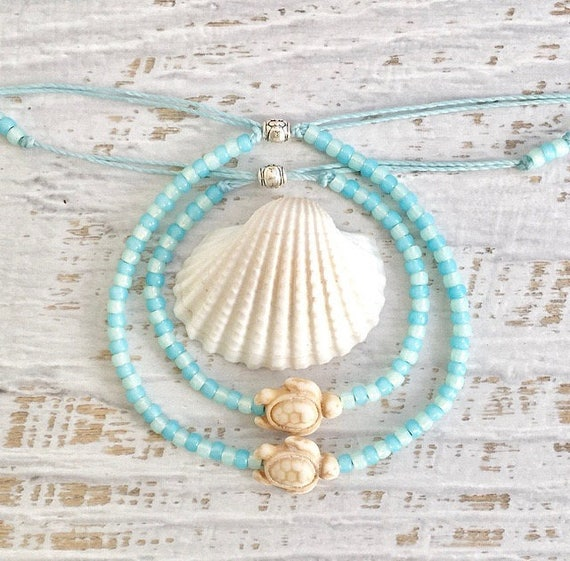 beach jewelry, friendship bracelet, sea turtle anklet