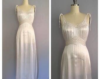 Lilium dress   1930s cold rayon slip dress   30s white satin gown   m - l