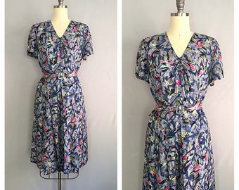 La feuille dress | 1950s floral dress | 50s silk rayon dress | m - l