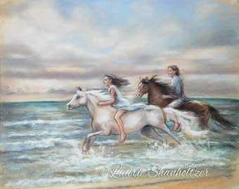 "Horses, Beach, Seascape, couple, romantic art, ""Chasing the Wind"" Canvas or art paper print , Laurie Shanholtzer,"