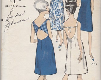 Awesome 60s Open Back Dress Pattern Vogue 6478 Size 12