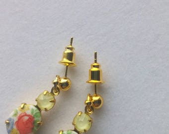 Vintage Flower Bouquet Cameo & Matte Yellow Swarovski Rhinestone Dangle Studs.  Gift for Her. Country Wedding. Garden Party. Spring Earrings