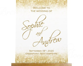 Wedding Welcome Poster, White Gold Sparkles (18x22): Text-Editable in Microsoft® Word, Printable Instant Download