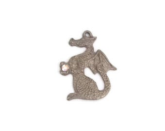 Vintage Gallo Pewter Dragon Pendant with Crystal Stone Mythical Medieval Renaissance