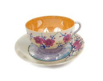 Vintage Cherry Blossom Teacup Saucer Purple Orange Lusterware Eggshell Porcelain Made in Japan