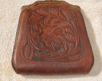 Vintage Hand Tooled Leather Purse by Reedcraft