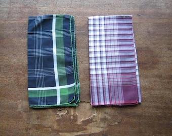 Mint Midcentury Plaid Handkerchiefs: Green, Burgundy or Brown Plaid + Elegant Chocolate Brown Men's Hankie; Casual/Wedding