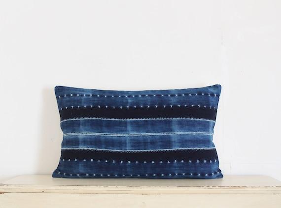 "Indigo Shibori pillow cushion cover 12"" x 20"""