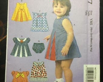 New!  McCall's Seeing Pattern M7177 Baby Dress With Diaper Cover