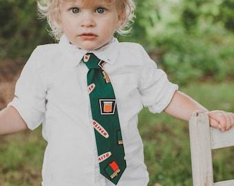 Oliver Tractor Logo Necktie, Green, Toddler Size