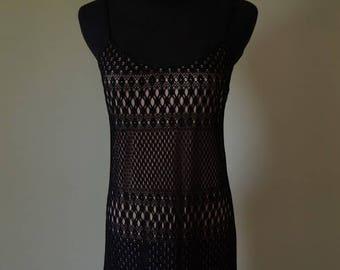 The little black dress for summer!  90's Ceduxion black crocheted overlay dress.