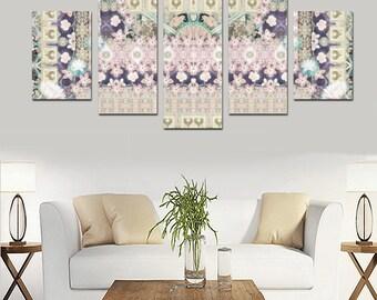 flowers and happyness-Artistic  canvas set-Home decor-wall art-designer decor-room-dorm decor-original gift-custom