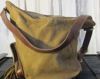 Vintage 80's 2 EFFE Pellettiere large leather satchel shoulder bag Italy