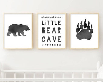Scandi Nursery Prints | Little Bear Cave | Set of 3 Nursery Prints | Monochrome Nursery | Woodland Nursery | Boys Room Decor