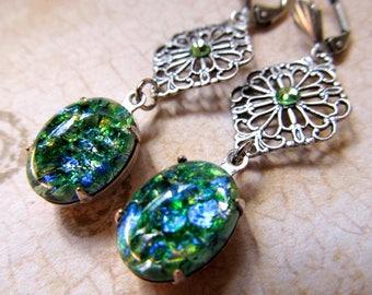Opal Earrings Silver Fire Opal Earrings Art Nouveau Earrings Art Deco Earrings Steampunk Earrings Sterling Filigree Earrings- Mystery