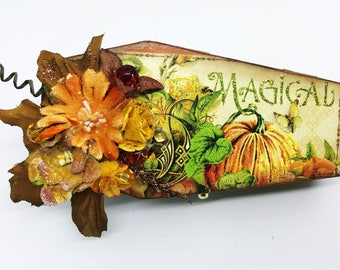 Coffin Box, Decorative Coffin Box, one of a kind Fall Box, Halloween Decorative Wood Casket Box