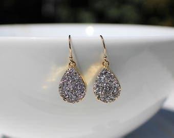 Silver/Metallic Grey Druzy Agate Quartz with Gold Earrings