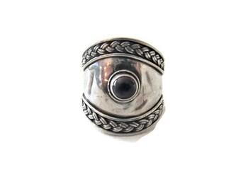 Vintage Bali Sterling Garnet Ring Size 8.5