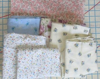 Fabric Remnant Bundle - 3 Pieces, Pale Blue with Flowers, Ecru with Roses, Beige with Salmon, Mauve and Blue Flowers and 4 Pieces of Scraps