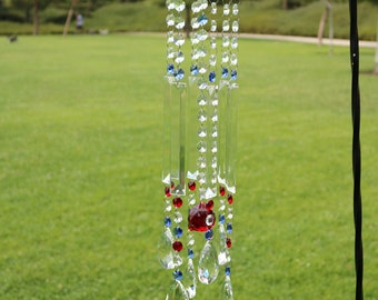 Large Crystal Prism Windchime Suncatcher, Garden Gifts, Garden Decor, Patriotic Gifts, Patriotic Garden Decor