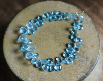 """Breathtaking APATITE Faceted Pear Briolettes, 6.5mm - 8mm, 6"""" Strand"""