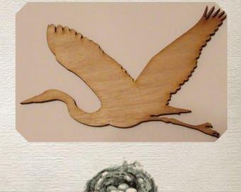 Blue Heron Wood Cut Out - Laser Cut