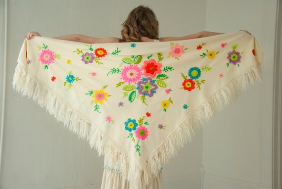 Vintage floral shawl, off-white embroidery, bright colorful flowers fringe, wrap cover 1960s 1970s boho
