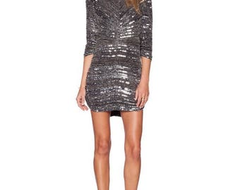 PARKER Silver Sequin Silk Dress