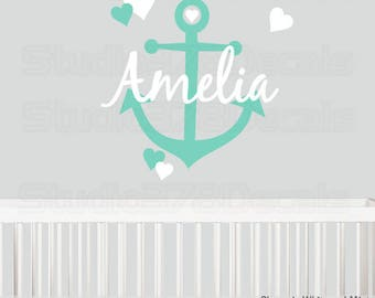 Girls Anchor Monogram Vinyl Wall Decal | Nautical Name Wall Decal | Childrens Wall Decal | Customized | Anchor and Hearts Wall Decal | 19x22