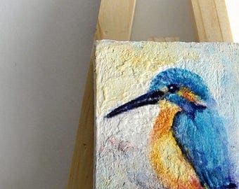 Miniature Bird Painting, Original Watercolor Blue King Fisher Art, Miniature Canvas Painting, Doll House bird paintingas