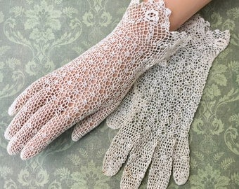 Beautiful Pair of Lacy Edwardian Era Crochet Gloves