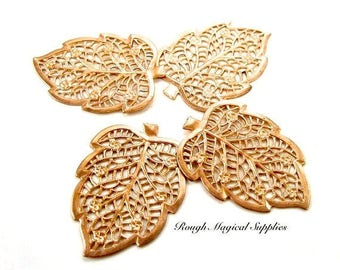 Copper Leaves, Autumn Leaves, 40mm Filigree Openwork Metal, Fall Leaf Decoration Embellishment, Sewing Sew on, Jewelry Making 4 Pieces SP342