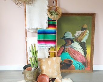 Large Signed Vintage Mexican painting ,Original colorful Mexican painting