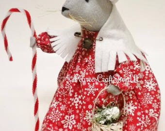 Christmas Mouse - Made To Order, Primitive Mouse, Christmas Decor