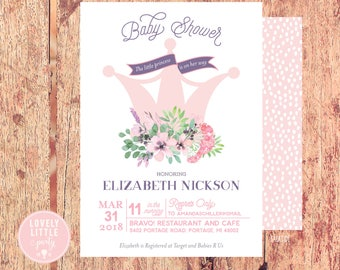Classy Princess Baby Shower Invitation, Floral Princess Invitation, Princess invitation- Lovely Little Party