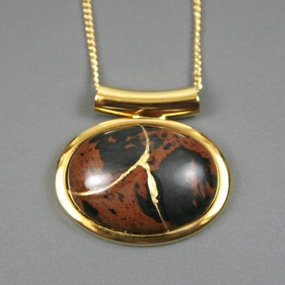 Kintsugi (kintsukuroi) mahogany obsidian stone cabochon with gold repair in a gold plated setting on gold chain - OOAK