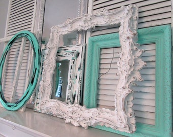 Large White Ornate Picture Frame 24 x 23~Vintage Baroque Style Wall Mantel Mirror Frame Shabby Cottage Chic~Wedding Menu Seating Chart Frame