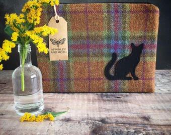 Cat on British Tweed Make-up Bag
