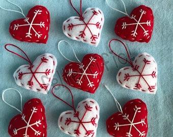 1 Dozen Handmade Felt Mini Heart Snowflake Ornaments