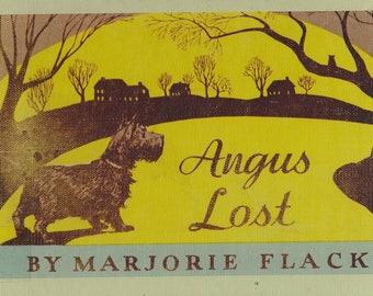 Angus Lost by Marjorie Flack, vintage childrens book, Scottie dog, Scotty dog, Scottish terrier, childrens picture book, dog book, lost dog