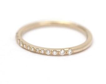 Micro Pave Diamond Band, Tiny Pave Diamond Ring, Thin Diamond Wedding Ring, Half Eternity Band, Thin Diamond Band, Natural White Gold Ring