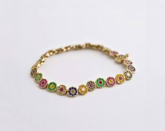 Multi-Color Gemstone Bracelet, Rainbow Charm Bracelet, Disc Bracelet, Sapphire Oriental Tikas Bracelet for Woman, Handmade