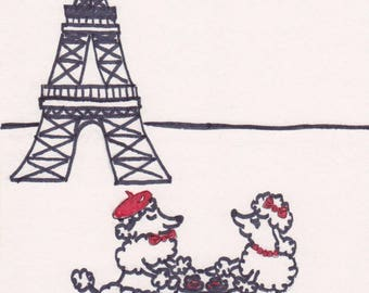 Paris Art, Eiffel Tower Print, French Poodles Drawing, Sidewalk Cafe in France Illustration, Dog Sketch, Pet Home Decor