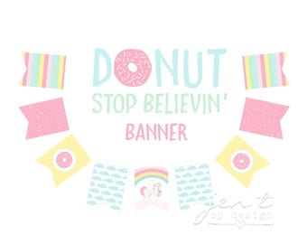 Unicorn Party Banner - Donut Party Banner - Rainbow Party Banner